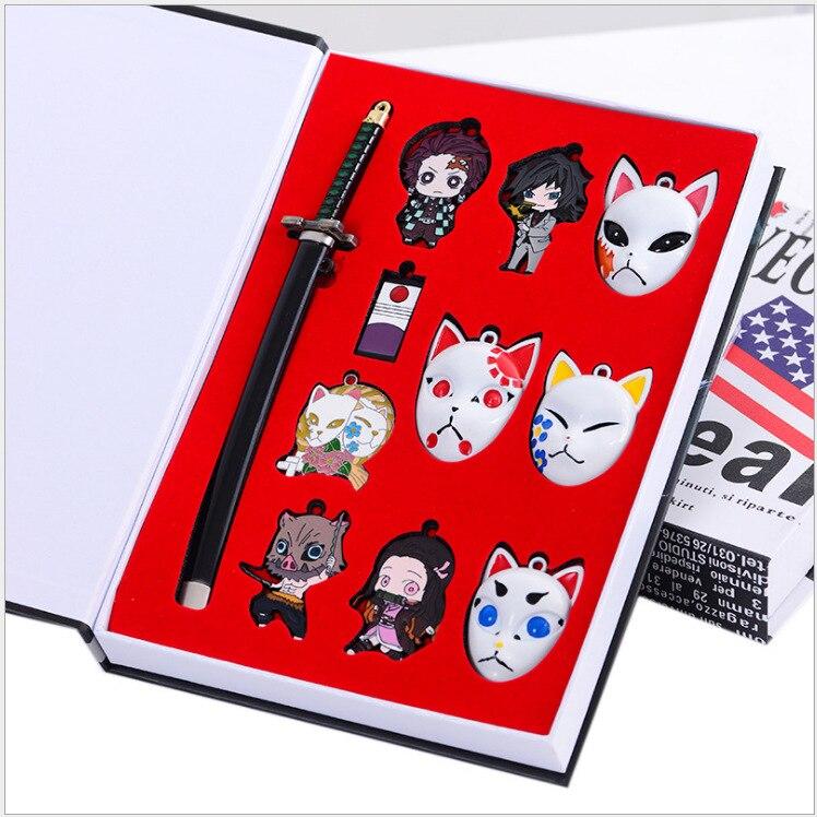 Llaveros de hoja Fantasma No triste carbón auténtico Jielang máscara aleación colgante arma modelo 11 piezas llavero exquisito regalo caja llavero