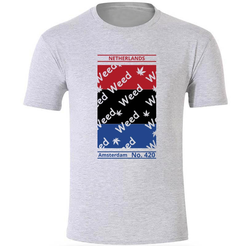 Camiseta gráfica de Holanda de algodón con cuello redondo para hombre de Amsterdam No S-3xl