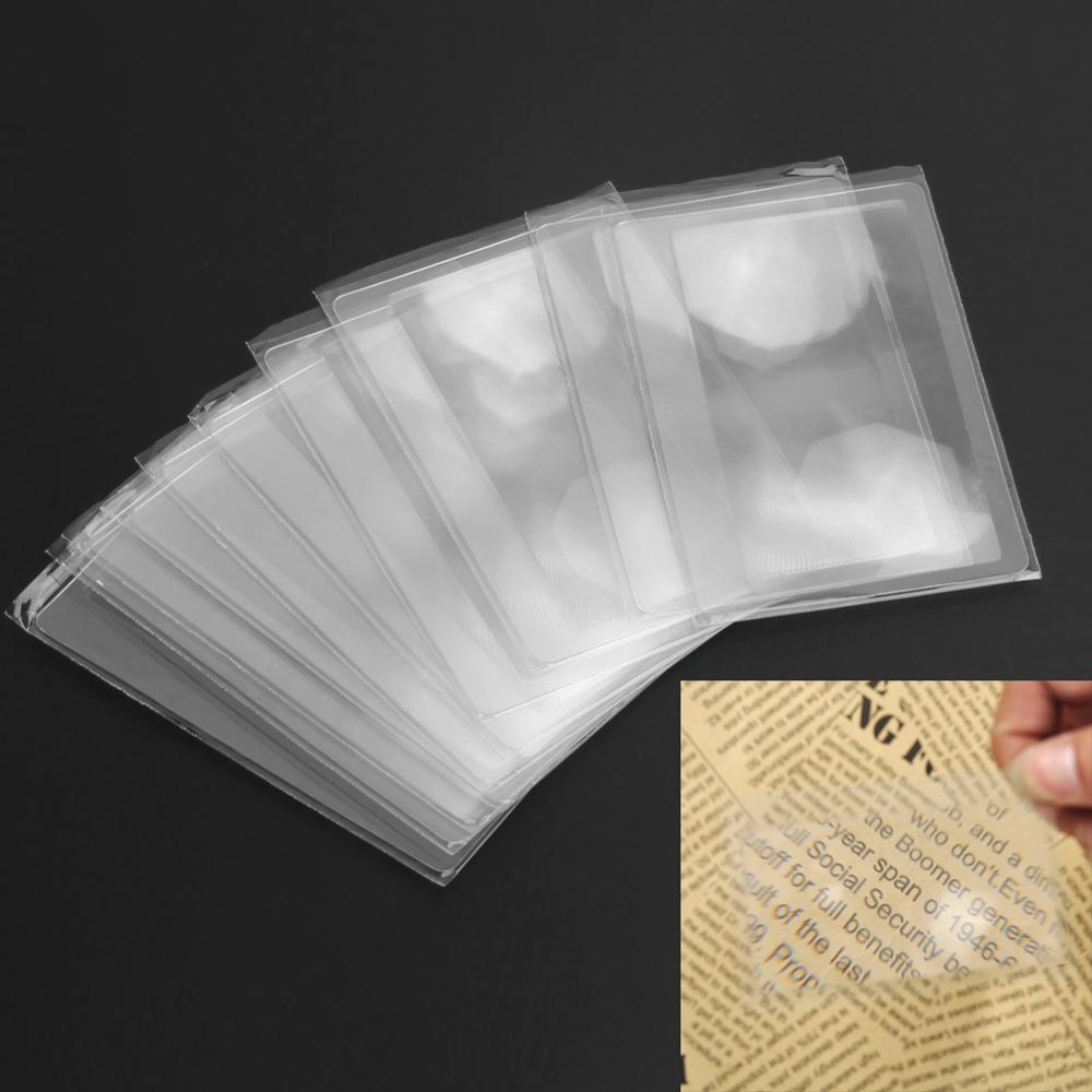 10 шт. многофункциональной 3X увеличительное стекло увеличение увеличительная линза Френеля Портативный карман кредитной карты Размеры уве...