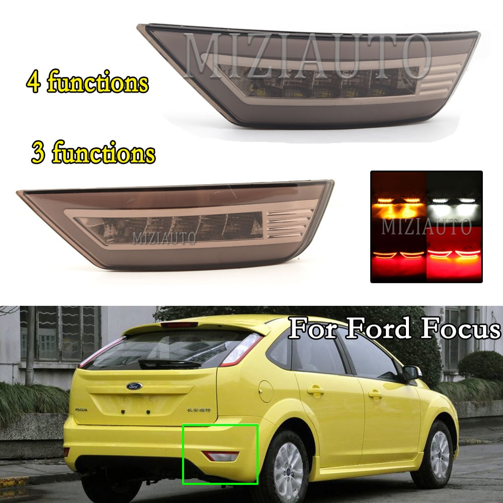 1 Pair LED Rear Bumper Reflector Light For Ford Focus 2 MK2/ Escape Kuga/Ecosport Hatchback Car Accessories Tail Stop Brake Lamp