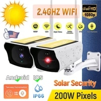 outdoor solar security camera 1080p wireless wifi camera solar panel rechargeable battery bullet pir motion alarm two way audio