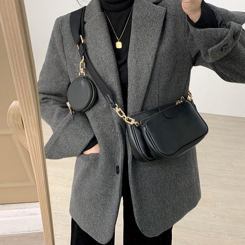 امرأة حقيبة ساعي الجودة بو الجلود نمط جديد الموضة ثلاثة في واحد حقائب واسعة حقيبة كتف حقائب بيد تقاطعية للسيدات