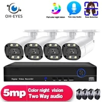 5mp ip poe cctv camera system 4ch nvr kit outdoor waterproof face detection video surveillance camera security system set onvift