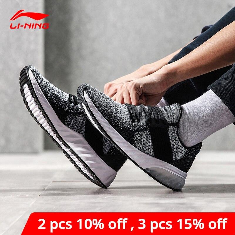 Li-Ning Мужская гелевая трикотажная обувь для образа жизни спортивная обувь li ning с дышащей подкладкой из моно пряжи Нескользящие кроссовки AGLN041 YXB132