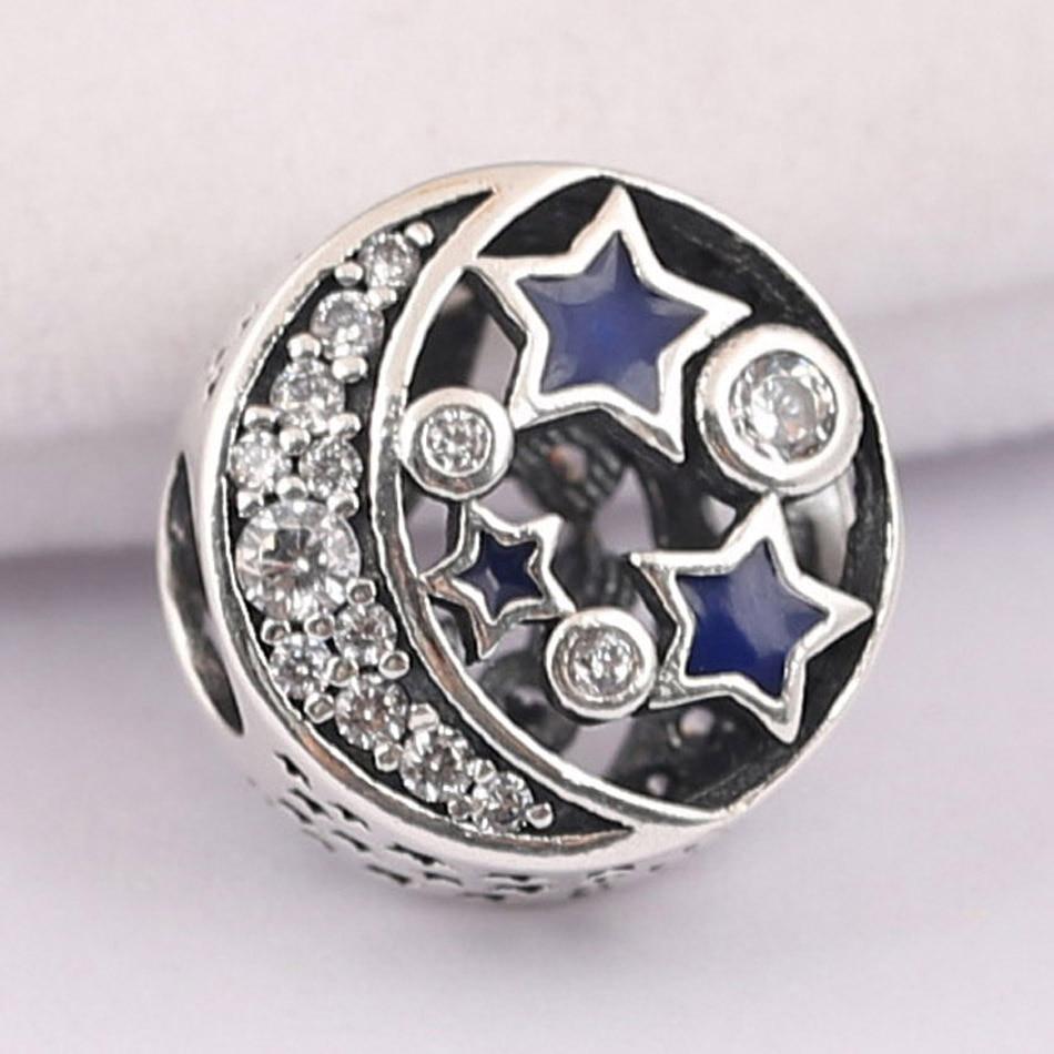 Cuentas para bricolaje de joyería S925 auténticas, abalorios de estrella de Luna Vintage, pulsera para damas, brazalete brillante con esmalte azul de medianoche