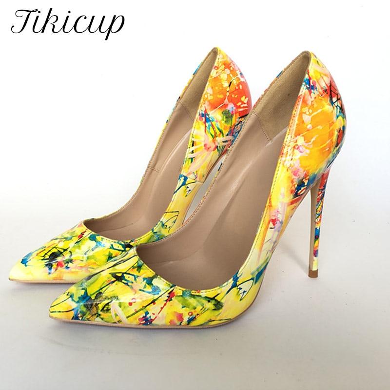 Tikicup الأصفر الأزهار المطبوعة النساء براءات أشار تو الخنجر عالية الكعب الانزلاق على السيدات فستان رسمي مضخات أحذية حجم كبير