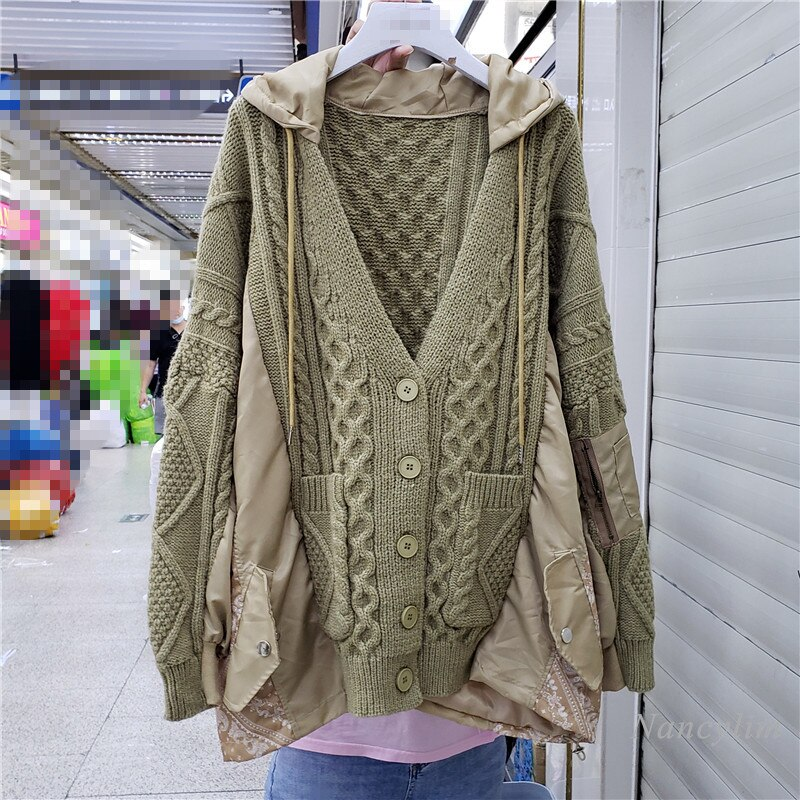 Army Green Cardigan Women 2021 Autumn New Korean Style Stitching Hooded Loose Sweaters Coat Oversized Outwears Femme enlarge