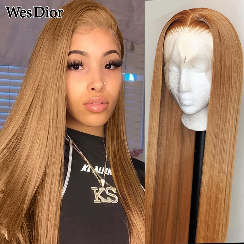27 Honey Blonde Color Remy Brazilian Straight Lace Front Human Hair Wig 8 - 30 inch Ombre Brown Frontal Wigs for Black Women