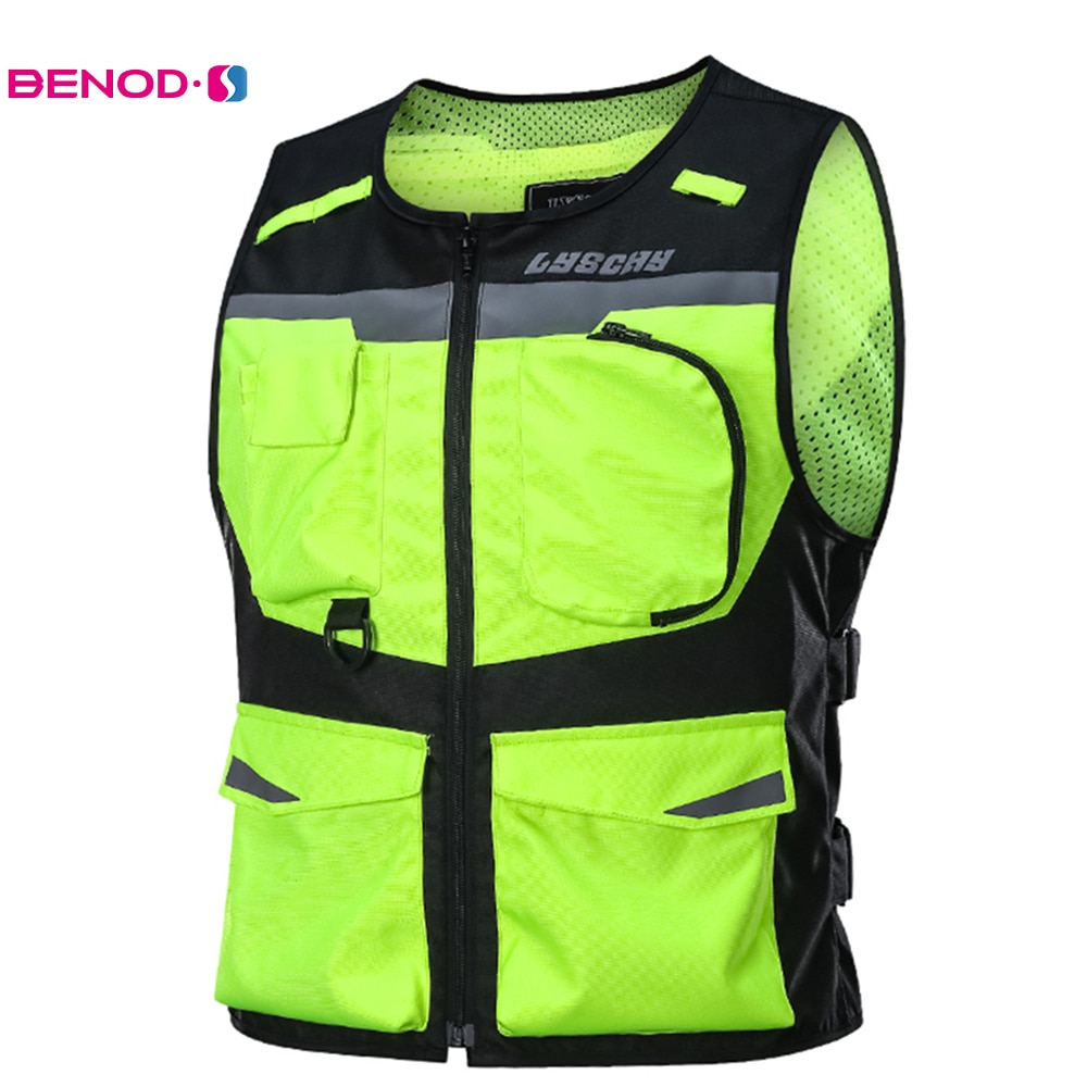 LYSCHY Protective Gear Reflective Motorcycle Vest Safety Vest Waistcoat Mesh Motorcycle Body Armor F