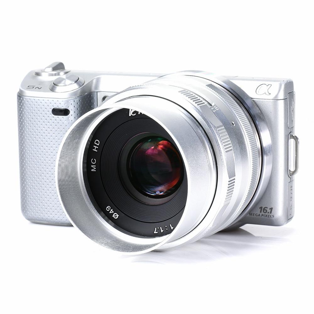 Large apertur 35mm F1.7 Manual Lens for Sony NEX3N NEX5T NEX6 NEX7 NEX-F3 NEX-C3 a3000 a5000 a5100 a6000 Camera silver&hood&gift enlarge