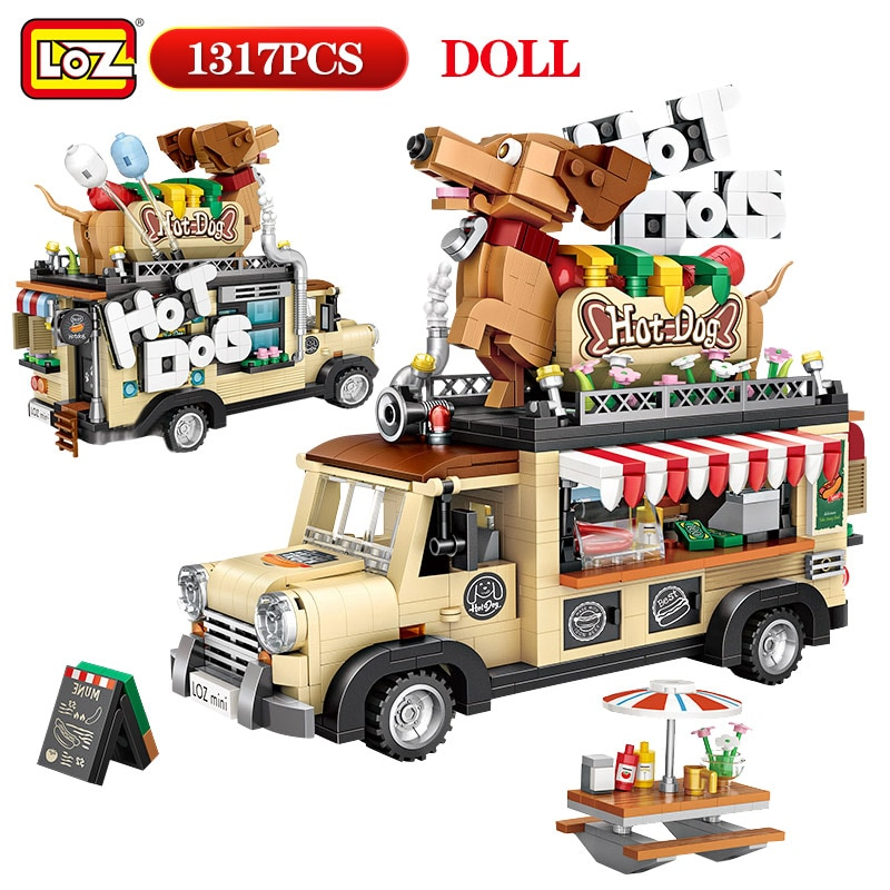 Loz 1317 pçs mini tijolos cidade carro carrinho de cachorro quente estatueta modelo blocos de construção veículo educação brinquedos para crianças presentes