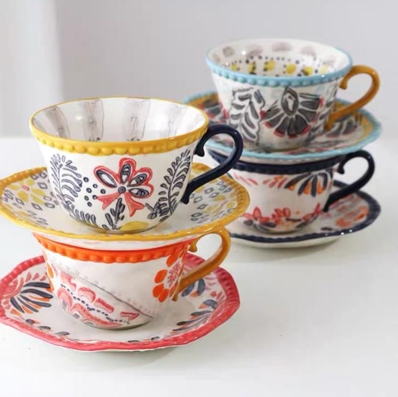Taza de café de cerámica, platillo pintado a mano, bajo esmaltado, Estilo exótico, Irregular, en forma de bola, Vaso de Silicona Plegable