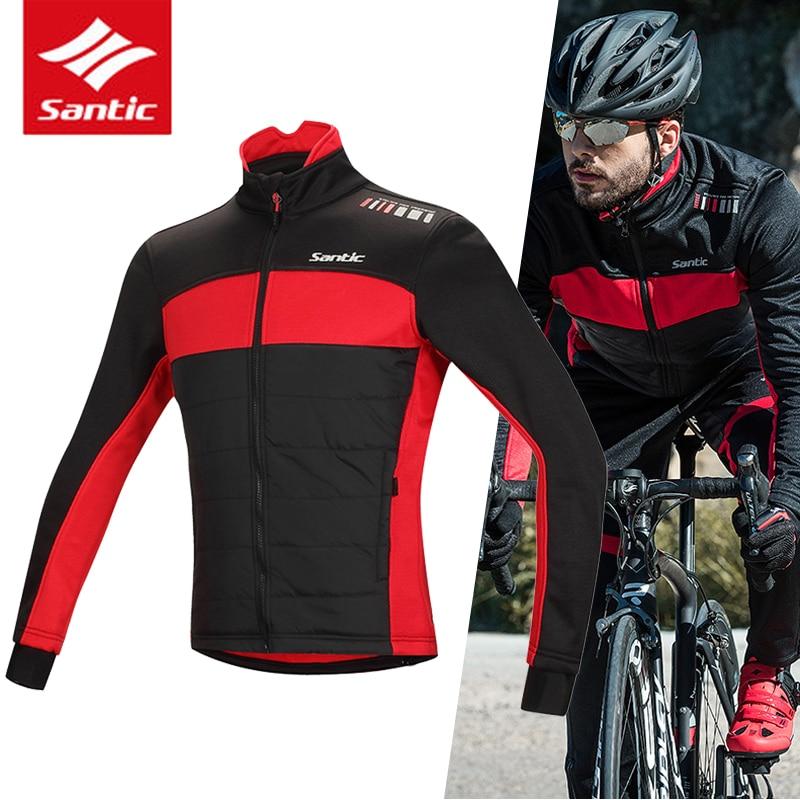 Santic Мужская зимняя куртка для велоспорта хлопок теплая велосипедная одежда
