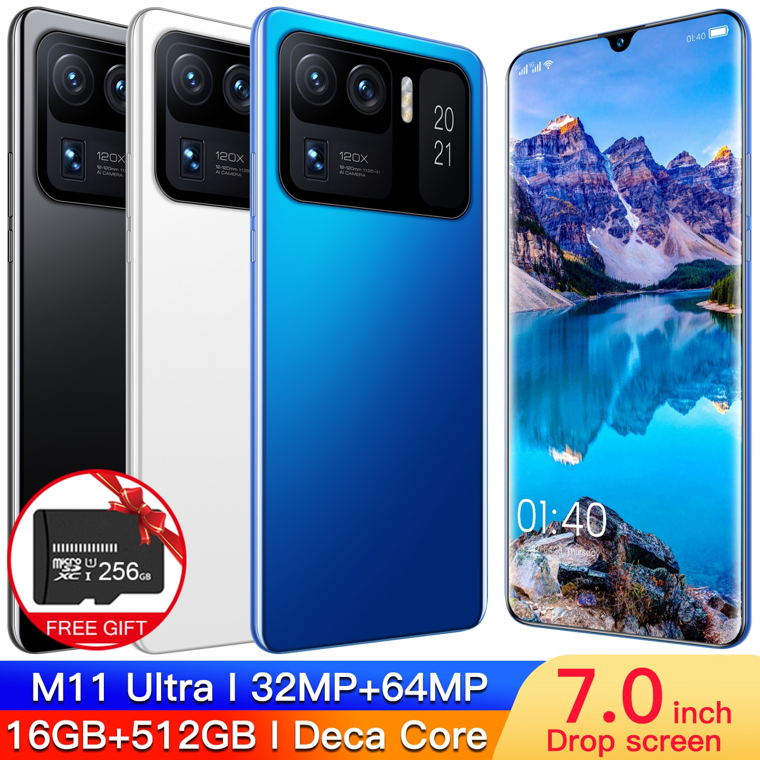 2021 Latest M11 Ultra 7.0 Inch 16+512GBSmartphone Face RecognitionPhone-Dual SIM Support T cards with 7200 mAh Bettery 32MP+64MP