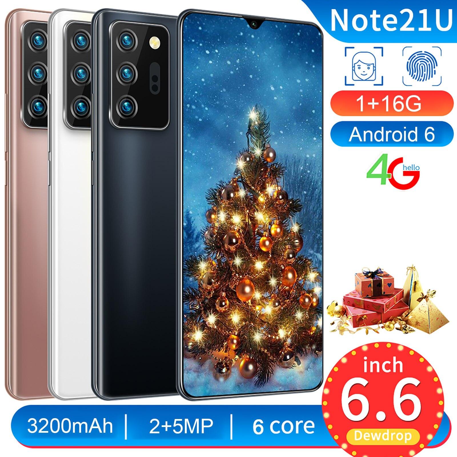 Note21U + 189 téléphones portables Android 6.0 1GB + 16GB Face ID 4G Smartphones Superprice Offre Spéciale charge rapide