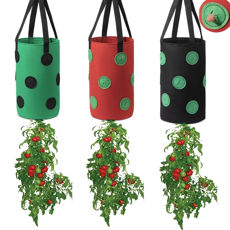 حقيبة زراعة الفراولة ، 3 قطع ، قماش غير منسوج ، حقيبة نباتات معلقة عمودية ، نباتات ، بطاطس ، حقيبة الدفيئة