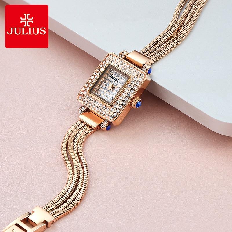 Julius Women's Watch Metal Bracelet Fashion Luxury Small Full of Crystal Snake Chain Tassels Bracelet Japan Quartz Julius Box enlarge