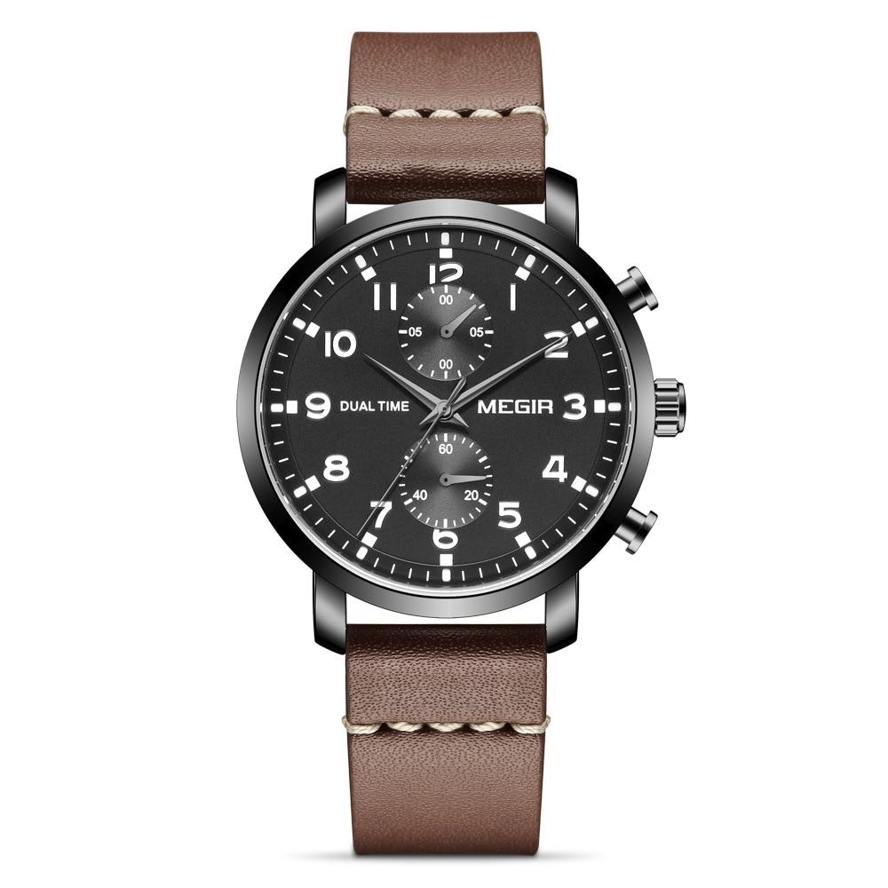Homem de Negócios Dial à Prova Relógio de Quartzo Megir Couro Genuíno Relógios Multi-função Dwaterproof Água Cronógrafo Masculino Relógio