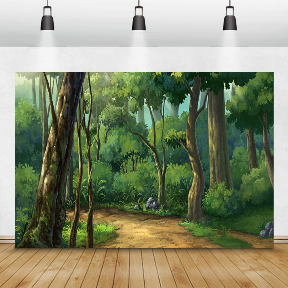 Laeacco Cartoon Forest Tree Fairytale Baby Birthday Room Decro Photography Backgrounds Photographic Backdrops For Photo Studio