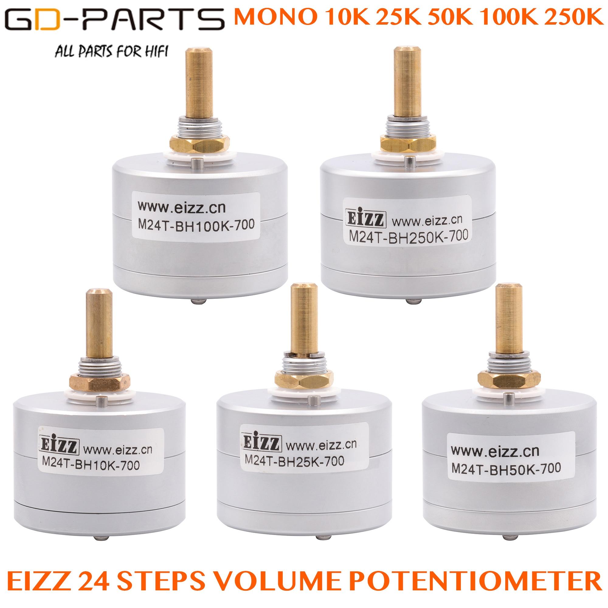 EIZZ Mono 10K 25K 50K 100K 250K 24 шага потенциометра громкости лог шаговый аттенюатор серийный тип 6 мм латунный вал Hifi DIY 1 шт.