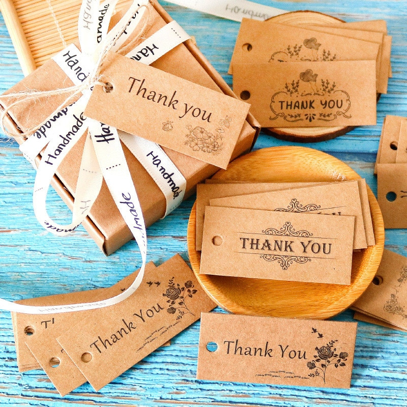 50pcs Homemade Product Hang Tags Kraft Paper Thank You Cards Garment Shoes Bags Accessories Handmade