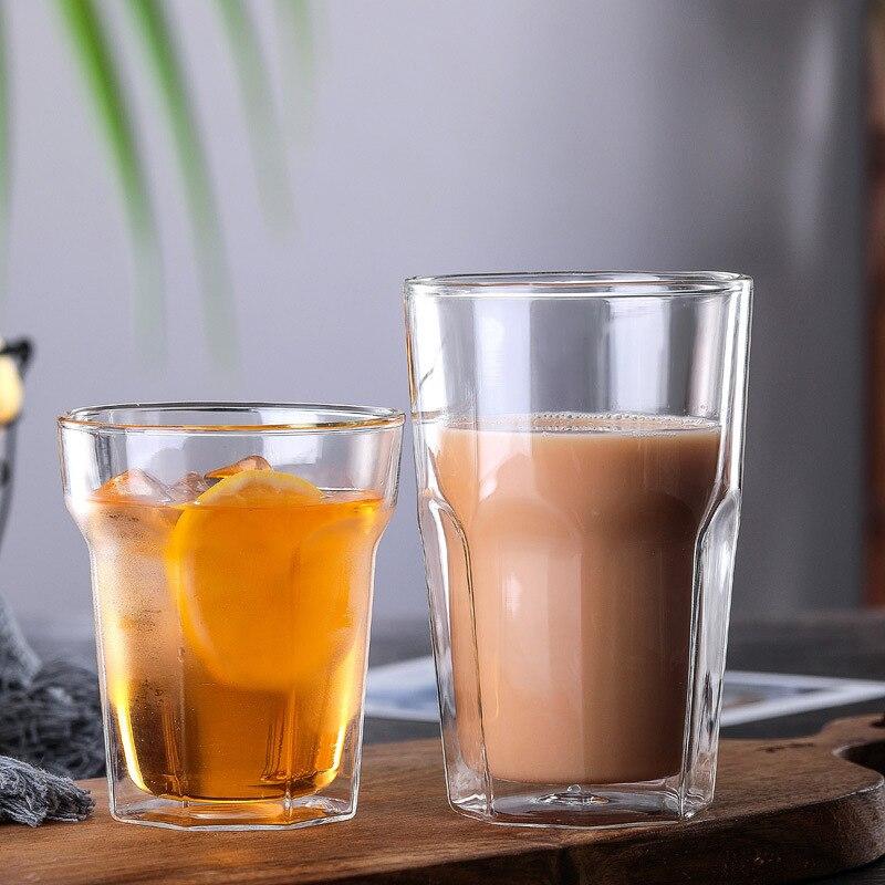 Taza octogonal transparente de aislamiento térmico de doble pared resistente al calor original Vaso de Leche cerveza Vaso tazas de café