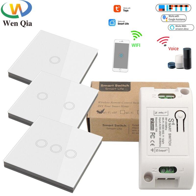 Tuya Smart Life Wifi Light Switch,Wireless 86 Panel Sensor Switch ON OFF RF 433Mhz DIY Relay 220V Voice Module Google Home Alexa