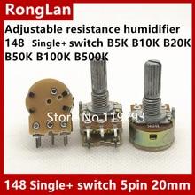 Potentiomètre de résistance réglable humidificateur 148 interrupteur simple B1K B5K B10K B20K B50K B100K B250K B500K B1M avec 5pin 20mm-5pc