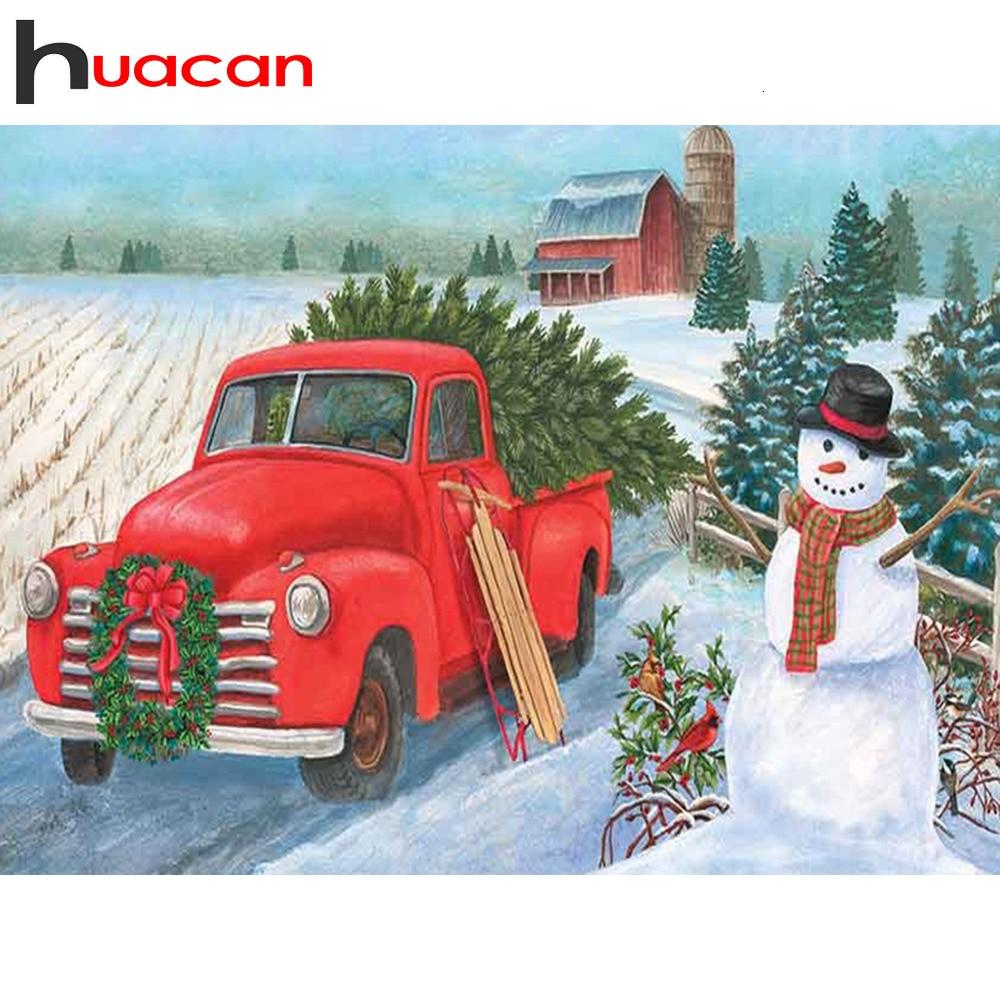 Huacan Diamond Painting Full Red Truck Farmhouse Home Decor Embroidery Cross Stitch Christmas Handicraft Diamond Art