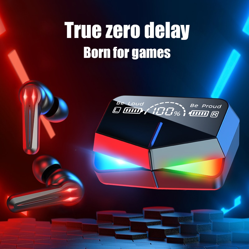 Bluetooth 5.1 stereo headset gaming wireless headset touch headset 2000mah battery LED display type-