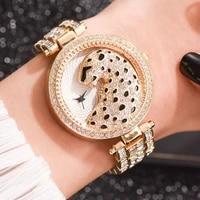 luxury womens wristwatches fashion bling ladies business quartz watch female gold watch crystal diamond leopard for women clock