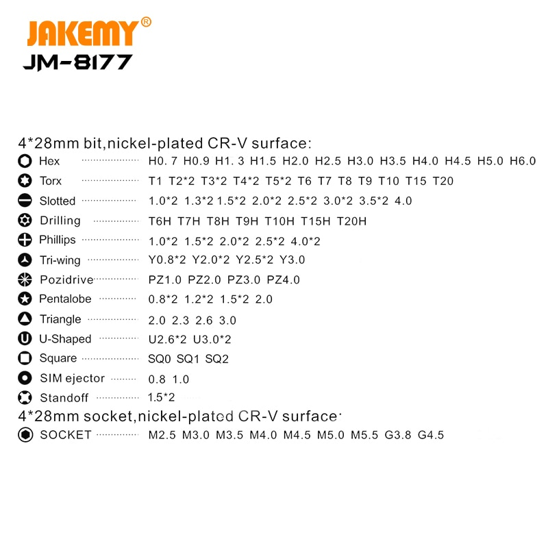 JAKEMY JM-8177 Precision Screwdriver Set Magnetic Bits Aluminum Alloy Handle Screw Driver for iPhone Computer Repair Tools