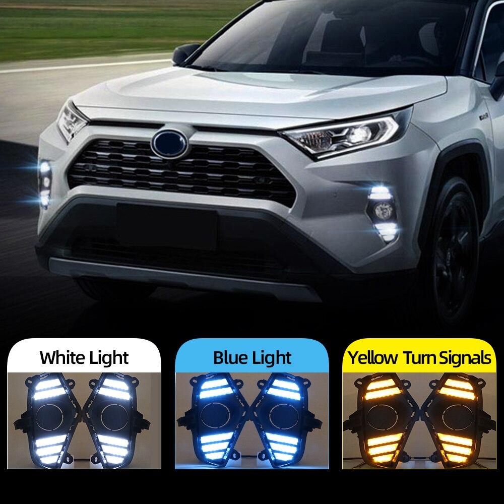 Intermitente para coche 2 uds DRL para Toyota RAV4 2019 2020 luz LED de conducción diurna impermeable amarillo con flujo intermitente parachoques