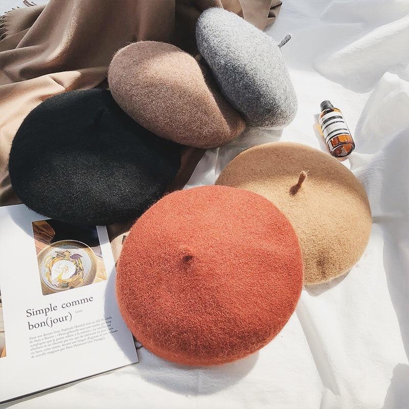 Boina para señora coreana Otoño e Invierno mujer japonesa casual moda gorro cálido de lana Color sólido sombreros holgados estilo pintor chica sombrero