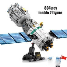 Creador de Ideas, lanzador de cohete con sonido spacelight, Kit de bloques de construcción tripulados, bloques, modelo clásico de nave espacial, juguete para niños