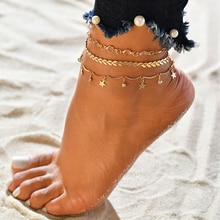 Bohemian Shell Heart Summer Anklets for Woman Gold Color Beach Foot Ankle Bracelets on The Leg Cuban