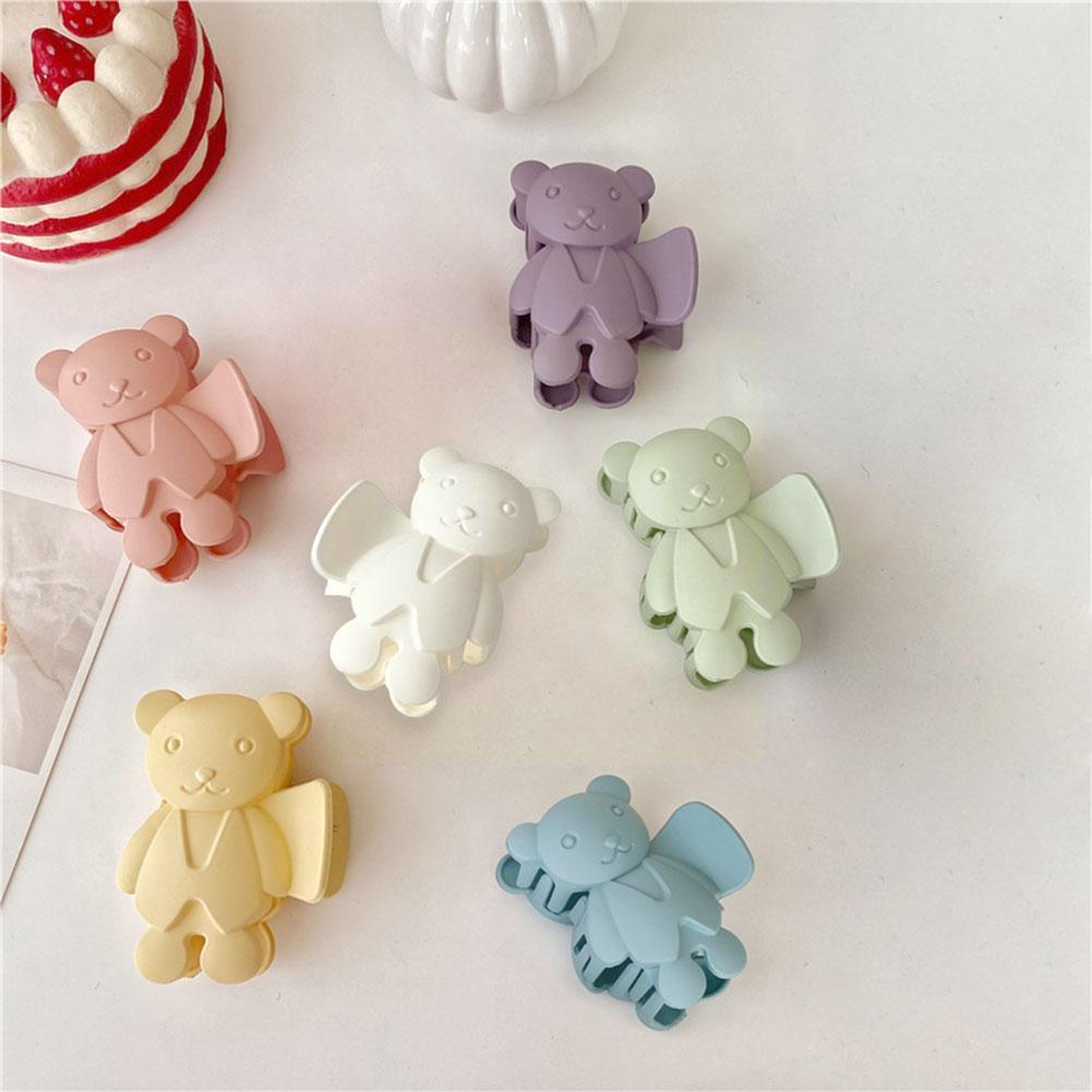 New Design Candy Color Frosted Cute Bear Hair Claws Hairpins Girls Hair Women Holder Accessories Bat
