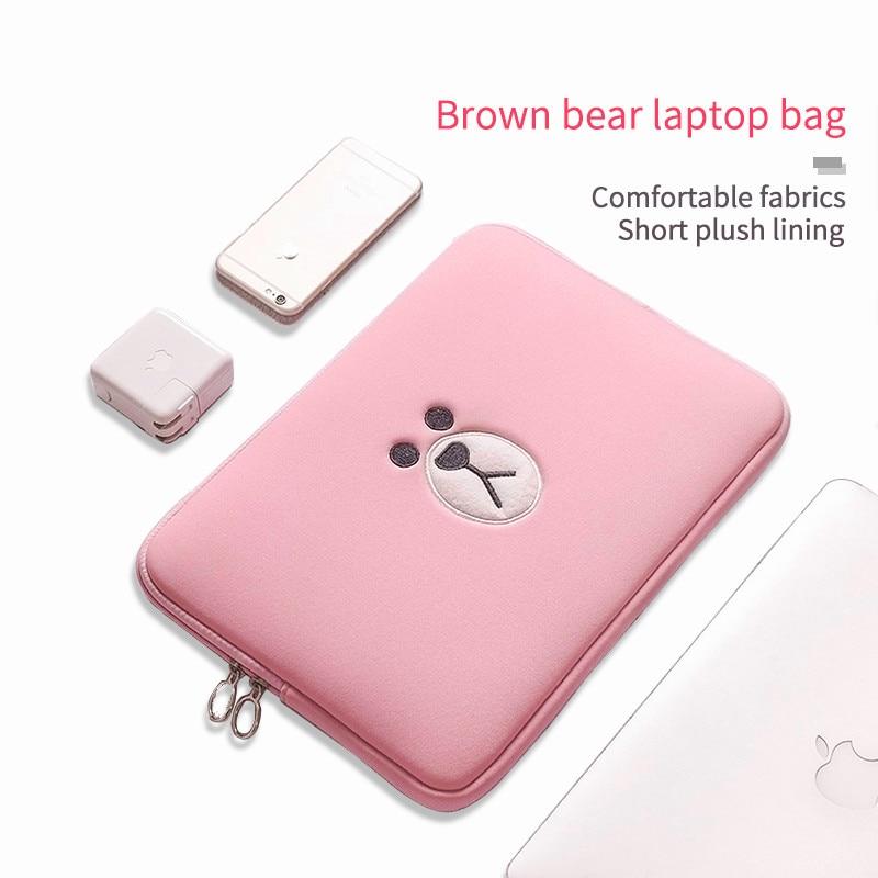 Cartoon Bag Laptop Bag 11 13 15.6 Inch For Macbook Air Pro 11 13 15  Tablet Case Computer Sleeve Computer Pocket Cute Brown Bear
