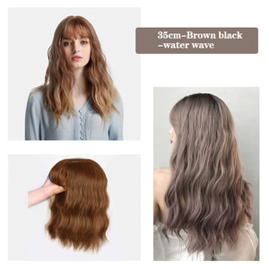 XG Exquisite synthetic, water wave wig, fluffy and natural, more realistic hair, black full wig, two kinds of 35 cm and 45 cm