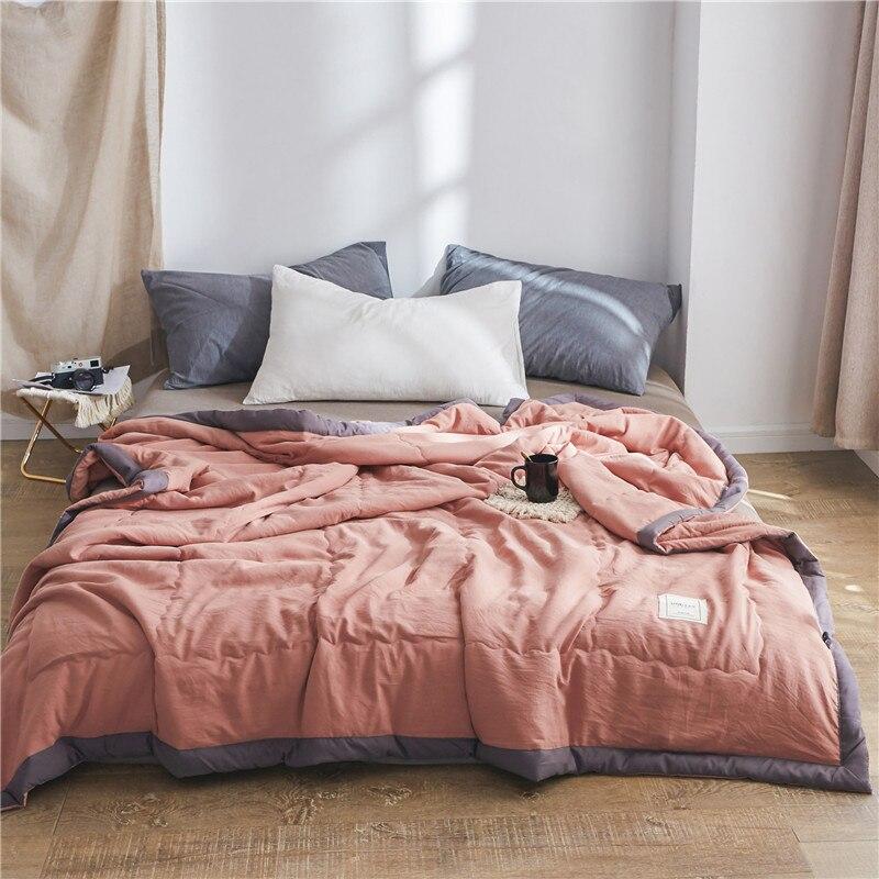 منشفة لحاف الصيف النمط الياباني تكييف الهواء المعزي حاف مزدوج الملكة الملك مفرش مبطن غطاء السرير منقوشة
