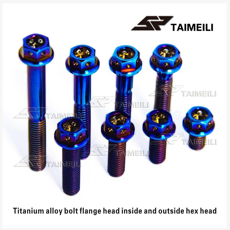 Tornillo de brida de aleación de titanio TAIMEILI hexágono interior y exterior M6/10/15/20/25/30/35/45/50/60mm tornillo de reparación de motocicleta azul quemado