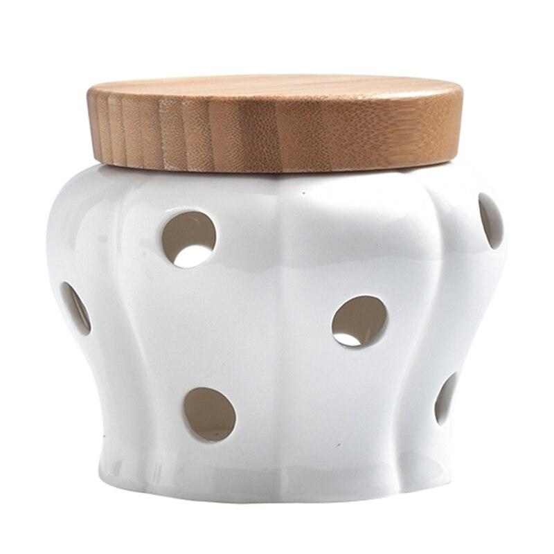 TOP!-boîtes de rangement en céramique   Créative, pot de stockage dail et de gingembre, couvercle en bambou, organisateur de cuisine, outils, accessoires de décoration de la maison