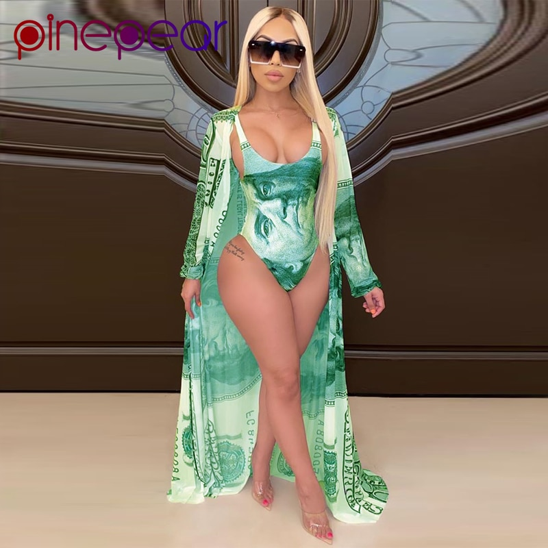 PinePear Women Money Print Bodycon Bodysuit+Cover Up 2 Piece Swim Suit Bikini Set Swimsuit Female Swimwear Push Up Bathing Suit