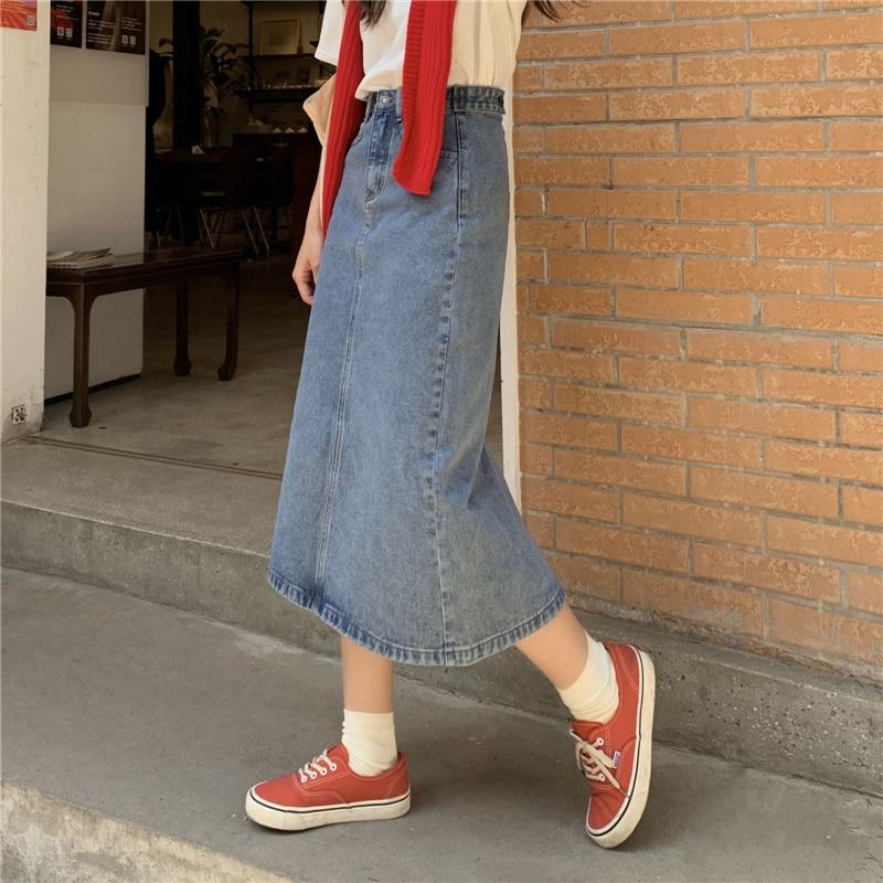 Skirt Women's Summer 2021 New Small High Waist A-line Skirt Mid Length Buttock Skirt