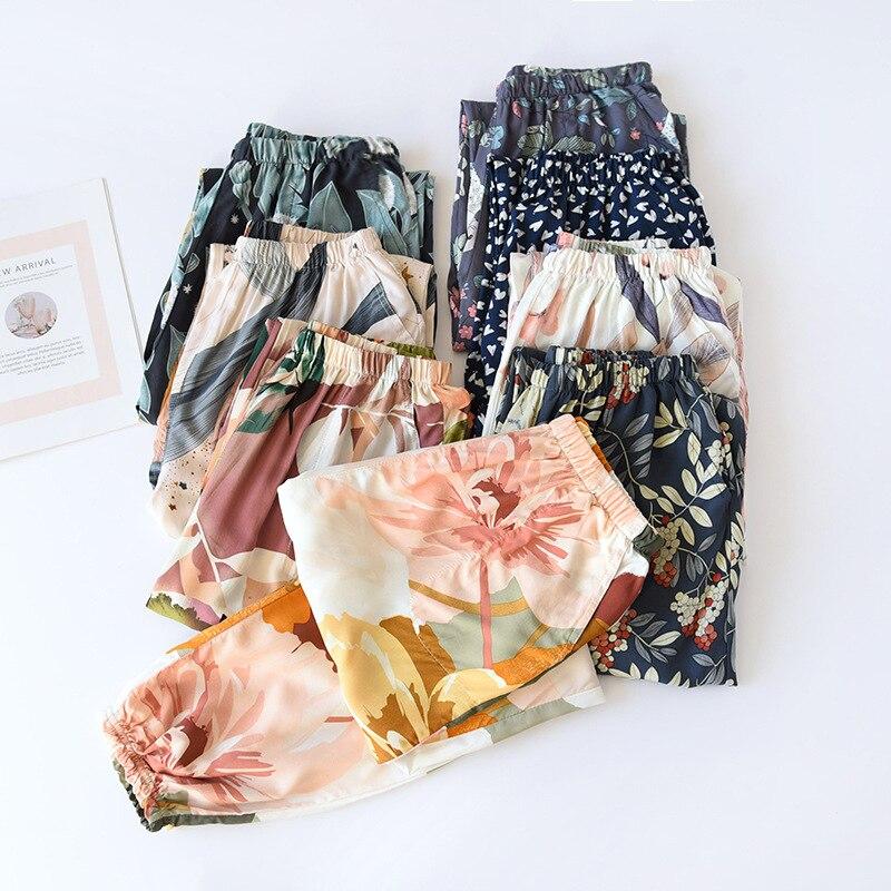Summer Viscose Rayon Printing Women Pajama Bottoms Elastic Waist Ankle-Length Pants Sleep Wear Women
