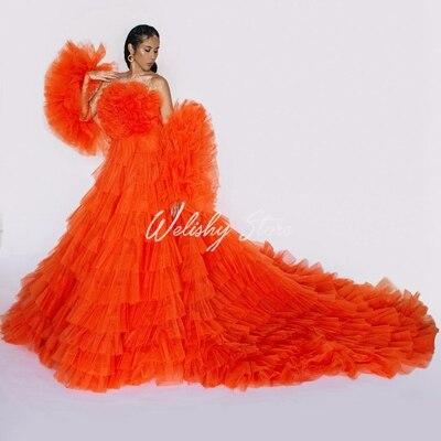 فستان سهرة طويل مكشكش ، قصة أرجوحة جميلة ، مطوي ، بدون حمالات ، مثير ، أكمام قابلة للفصل