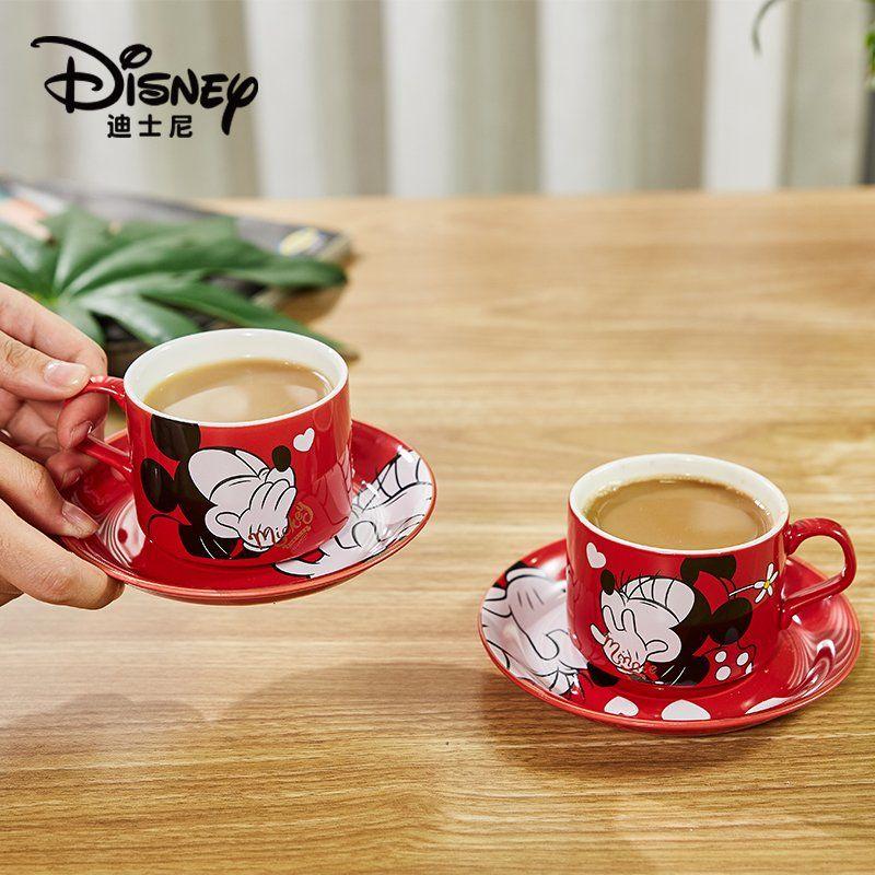 ديزني ميكي ميني الكرتون اكواب الثنائي الإبداعية كوب سيراميك و طقم أكواب 150 مللي القهوة مع الصحن كوب صغير زوج