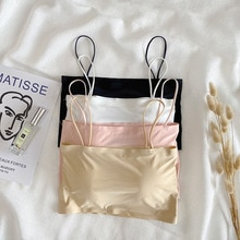 Spring 2021 New Wireless Bandeau Ice Silk Girl Spaghetti Strap Beauty Back Student Inner Wrapped Che