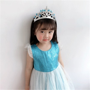 Headbands For Kids Girl Princess Hairbands Yarn Crown Rhinestone Tiara Flower Child Hair Accessories Korean Handmade Wholesale