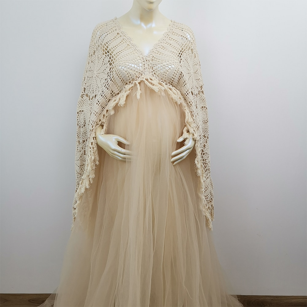 Don&Judy Boho Maternity Dresses Long Sleeve Pregnant Women Maxi Tulle Gown Sexy V Neck Bohemia Pregnancy Dress for Photo Shoot enlarge